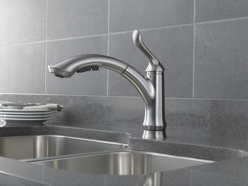 delta® linden™ one-handle pull-out kitchen faucet at menards®