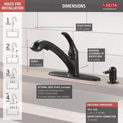 Delta® Foundations® One-Handle Pull-Out Kitchen Faucet at ...