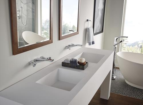 Delta Tesla Two Handle Wall Mount Bathroom Faucet Trim