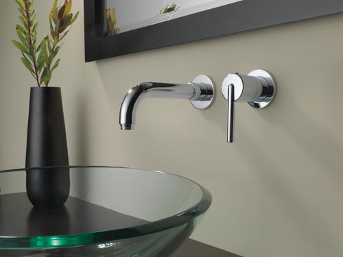 Delta® Trinsic™ One Handle Wall Mount Bathroom Faucet TRIM ONLY In Chrome