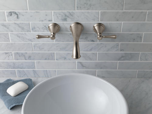 Delta® Cassidy™ Two Handle Wall Mount Bathroom Faucet TRIM ONLY In Brushed  Nickel