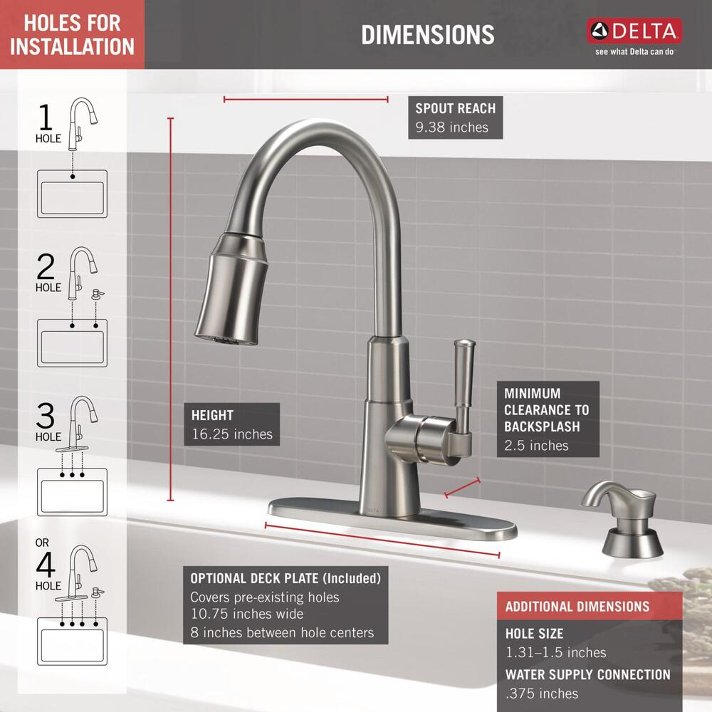 Delta Valo One Handle Pull Down Spotshield Stainless Kitchen Faucet At Menards