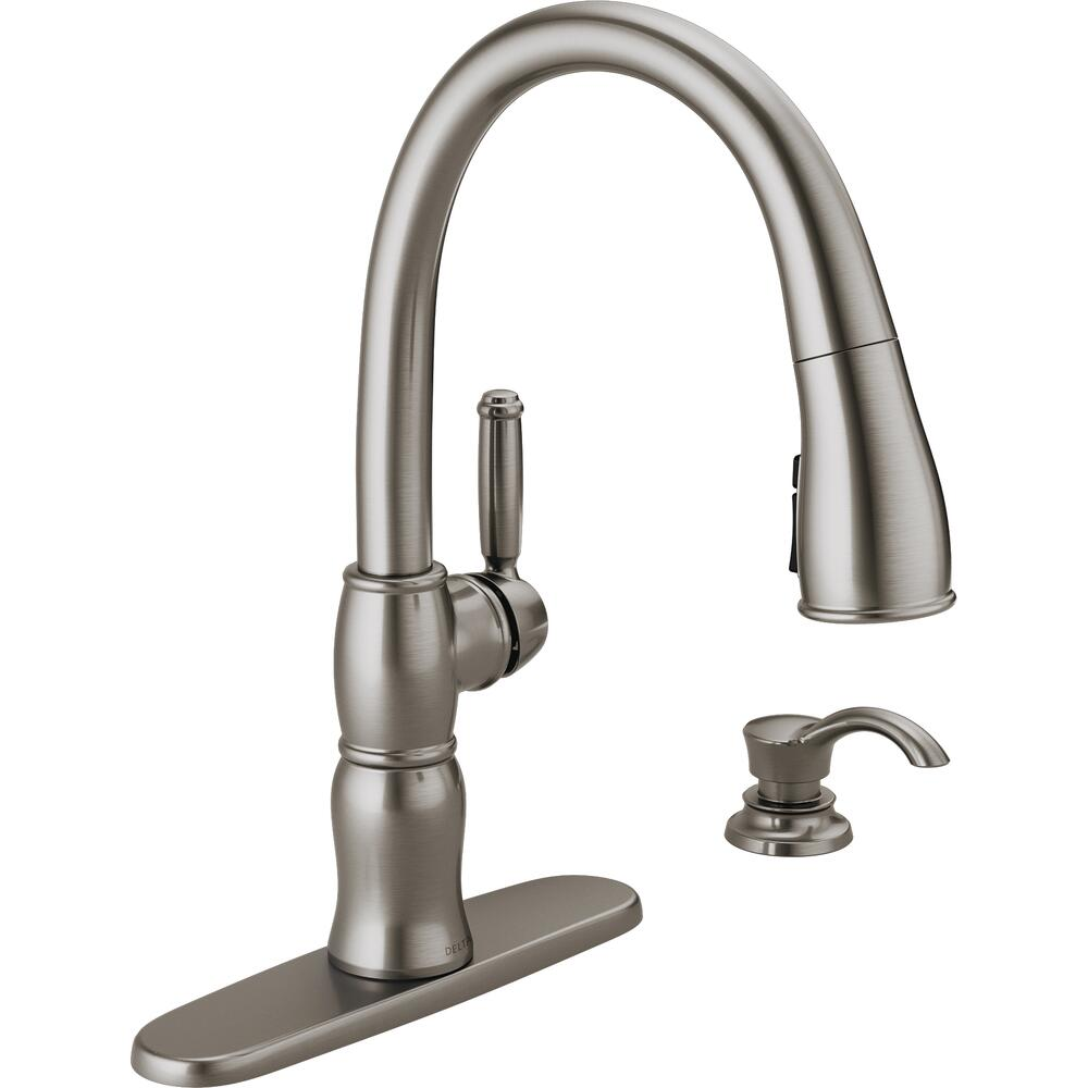 Delta Desmond One Handle Pull Down Spotshield Stainless Kitchen Faucet At Menards