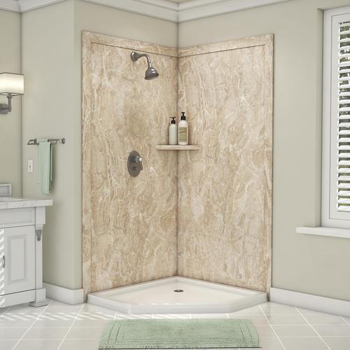 Flexstone Splendor 40 W X 40 D X 80 H Corner Shower Wall Surround 2 Piece At Menards