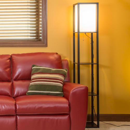 Matte Black Square Shelf Floor Lamp