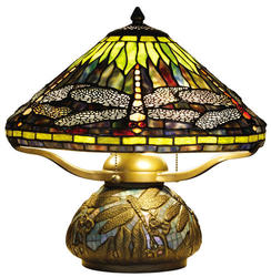 "Patriot Lighting® Dragonfly 16"" H Antique Bronze Tiffany Style Table Lamp"