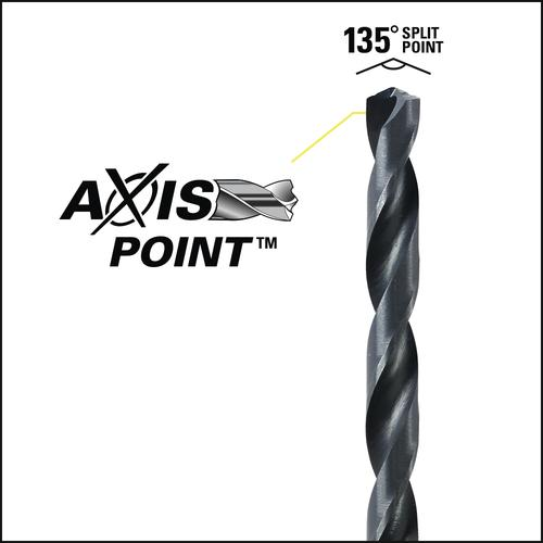 """Performax® 3/16"""" Black Oxide AXIS Point™ Drill Bit - 10 Pack"""