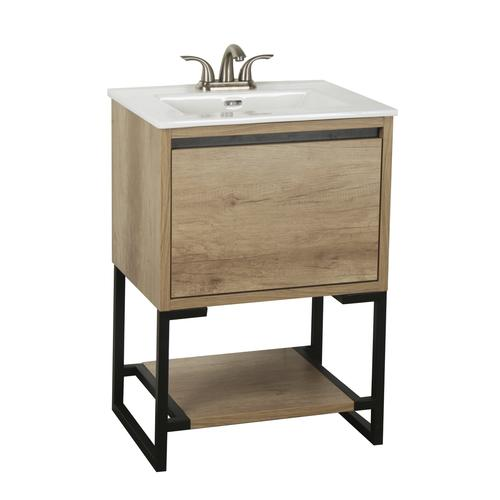 Dolphin Plumbing 24 W X 19 D Natural Cayenne Vanity And White Top