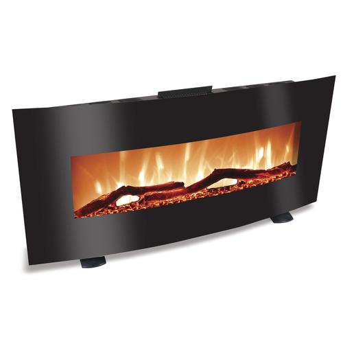 Grand Aspirations Belmont 48 Black Curved Wall Mounted Fireplace