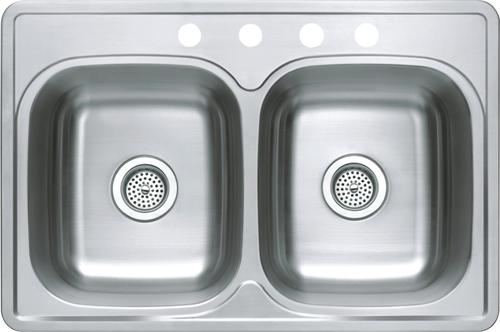 """tuscany 6"""" stainless steel double-bowl kitchen sink at menards�"""