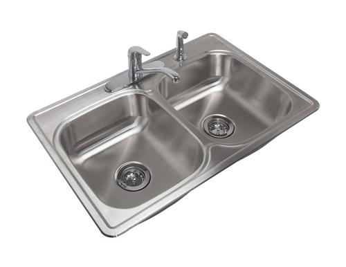 coated kitchen sink tuscany top mount 33 stainless steel 4 hole double bowl kitchen