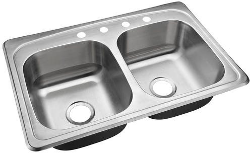 Tuscany Whitemore Drop In 33 Stainless Steel 4 Hole Double Bowl Kitchen Sink At Menards