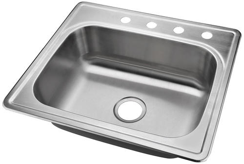 Pleasant Tuscany Top Mount 25 Stainless Steel 4 Hole Single Bowl Download Free Architecture Designs Osuribritishbridgeorg