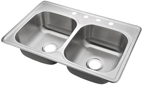 Tuscany Top Mount 33 Stainless Steel 4 Hole Double Bowl