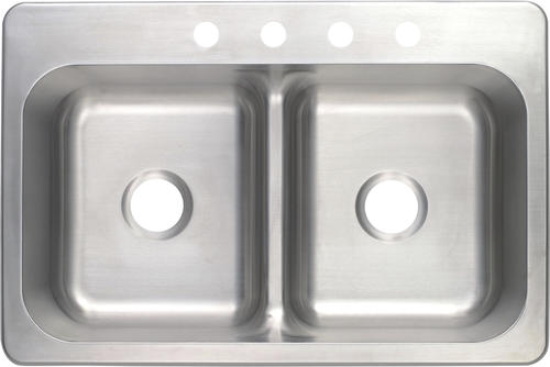 Tuscany Drop In 33 Stainless Steel 4 Hole Double Bowl Kitchen Sink At Menards