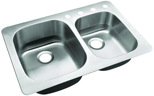 Tuscany Dual Mount 33 Stainless Steel 4 Hole Double Bowl Kitchen Sink At Menards