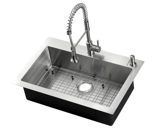 Tuscany Volk All In One Dual Mount 33 Stainless Steel Single Bowl Kitchen Sink At Menards