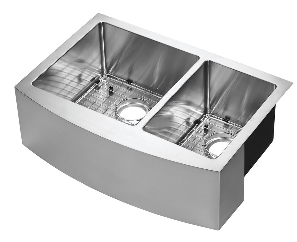 Tuscany Farmhouse Apron Front 33 Stainless Steel Offset Double Bowl Kitchen Sink At Menards