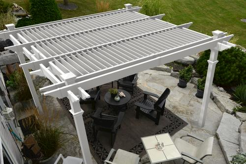New England Arbors 12' x 12' Camelot Louvered Pergola Kit at Menards®