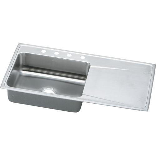Elkay Lustertone Classic Drop In 43 Stainless Steel 4 Hole Single Bowl Kitchen Sink With Drainboard At Menards