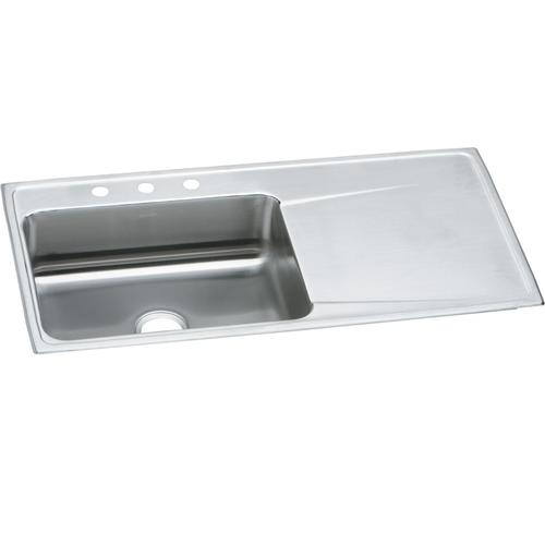 Elkay Lustertone Classic Drop In 43 Stainless Steel 3 Hole Single Bowl Kitchen Sink With Drainboard At Menards