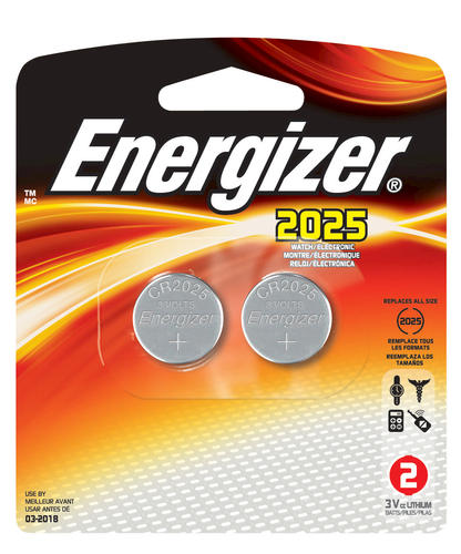 Energizer® 3-Volt 2025 Lithium Coin Cell Batteries - 2 pack