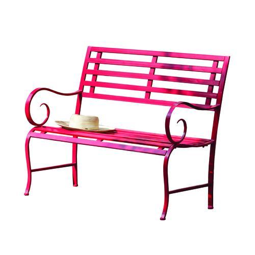 Surprising Red Metal Outdoor Garden Bench At Menards Machost Co Dining Chair Design Ideas Machostcouk