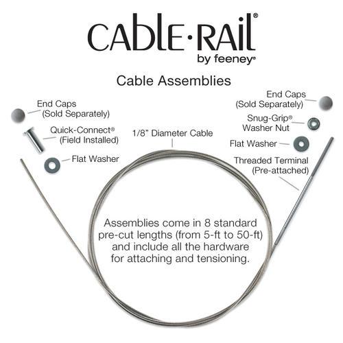 25 1//8 25/' Feeney Inc. Feeney CR-6325-PKG Cable Rail Assemblies for Wood 1//8