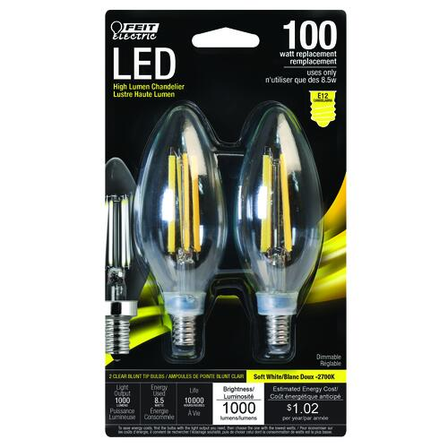 Led Light Bulb Candelabra Base: Feit Electric 100W Equivalent B10 E12 Candelabra Base Soft