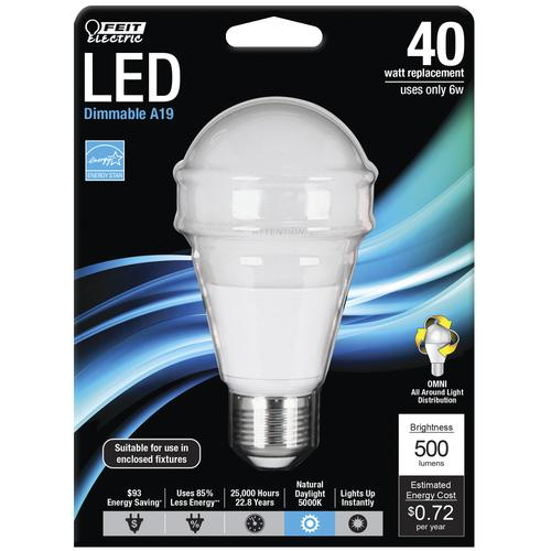 Feit Electric 40w Equivalent Daylight G25 Dimmable Clear: Feit Electric® 40W Equivalent A19 Daylight Dimmable LED