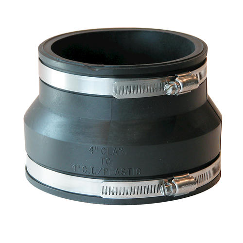 "Fernco 4"" Clay x Cast Iron/Plastic Coupling"