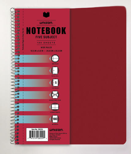 Unison® 5-Subject College Ruled Poly Notebook at Menards®