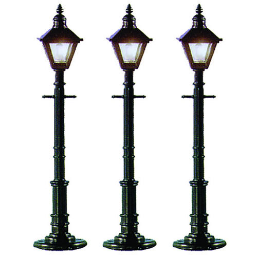 O Scale Model 3 Pack Old Fashioned Lamp Post Square Gray