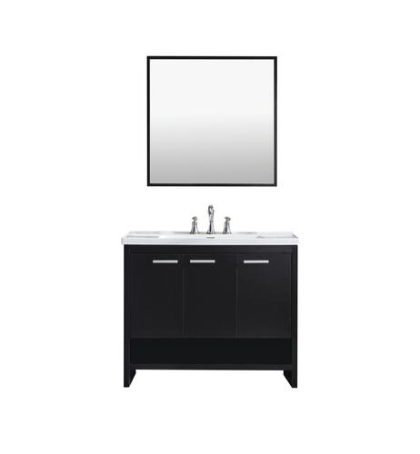 Tuscany Verona 40 W X 19 D Vanity And White Ceramic Vanity Top With Rectangular Integrated Bowl And Mirror At Menards