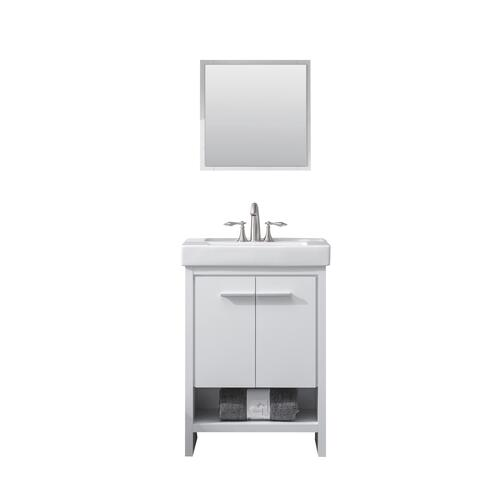 Tuscany Verona 24 W X 14 D Vanity And White Ceramic Vanity Top With Rectangular Integrated Bowl And Mirror At Menards