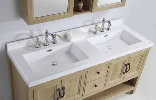 White Square Double Bowl Vanity Top