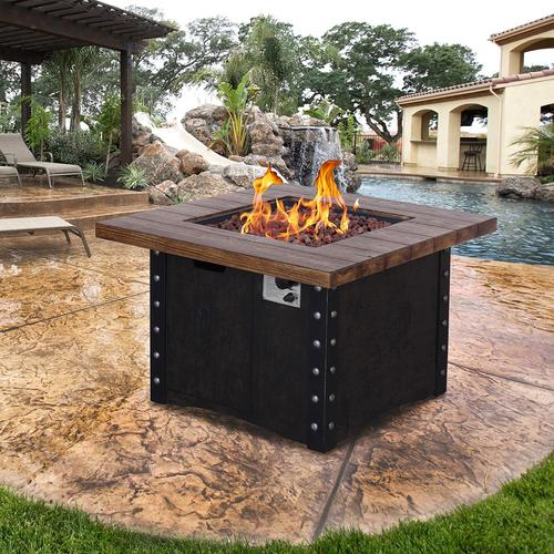 Outdoor Propane Fire Pit.Backyard Creations Monroe Propane Gas Fire Pit Table At