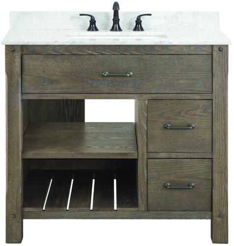 Foremost Roberson 36 W X 21 1 2 D Dark Oak Bathroom Vanity Cabinet At Menards