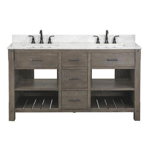 Foremost Roberson 60 W X 21 1 2 D Dark Oak Bathroom Vanity Cabinet At Menards