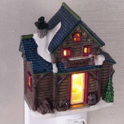 Sawmill Log Cabin Night Light Porcelain Christmas Village House