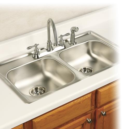 """Kindred Top Mount 33"""" Stainless Steel 4-Hole Double Bowl"""