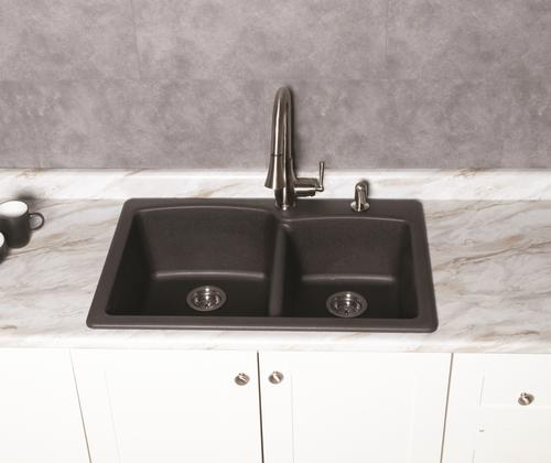 Franke Ellipse All In One Dual Mount 33 Onyx Granite 1 Hole Double Bowl Kitchen Sink Kit At Menards