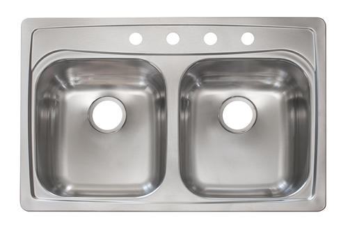 Kindred Top Mount 33 Stainless Steel 4 Hole Double Bowl