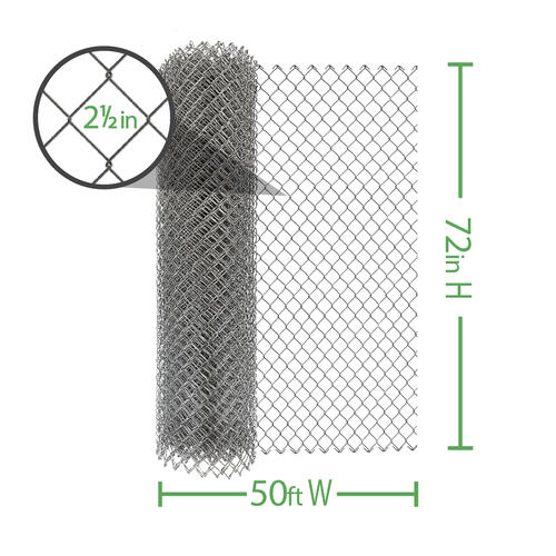 50 9 Gauge Galvanized Chain Link Fence Fabric At Menards
