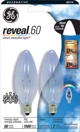 Ge 60 Watt Reveal Decorative Candelabra Light Bulb 2 Pk At Menards