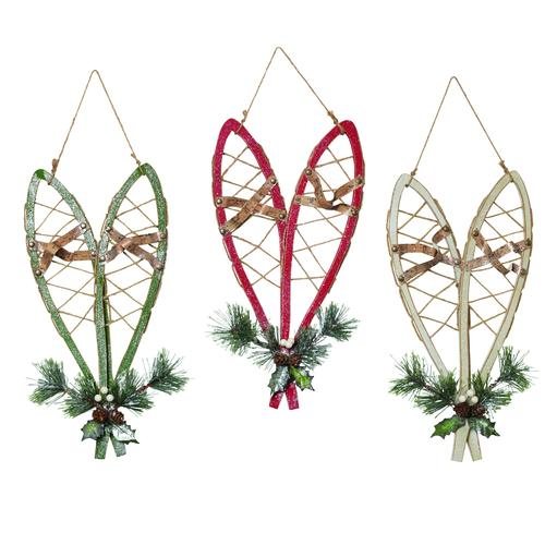 """Enchanted Forest® 17"""" Hanging Wood Snowshoes"""