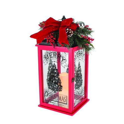 Christmas Lantern.Enchanted Forest 23 Wood Christmas Lantern With Metal Top