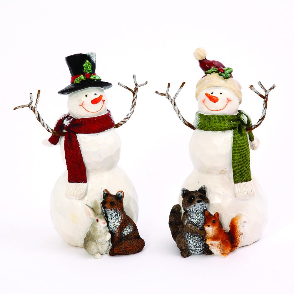Enchanted Forest 8 Resin Snowman With Woodland Critters Figurine Assorted Styles At Menards