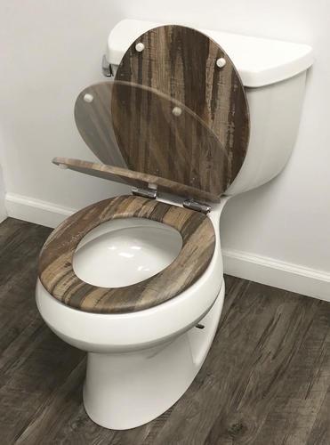 Wondrous Home Solutions Distressed Wood Veneer Elongated Toilet Creativecarmelina Interior Chair Design Creativecarmelinacom