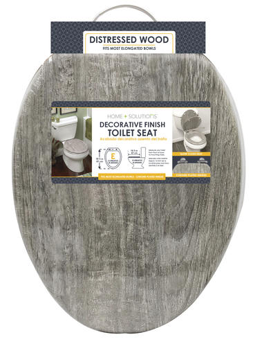 Awesome Home Solutions Gray Wood Veneer Elongated Toilet Seat At Uwap Interior Chair Design Uwaporg